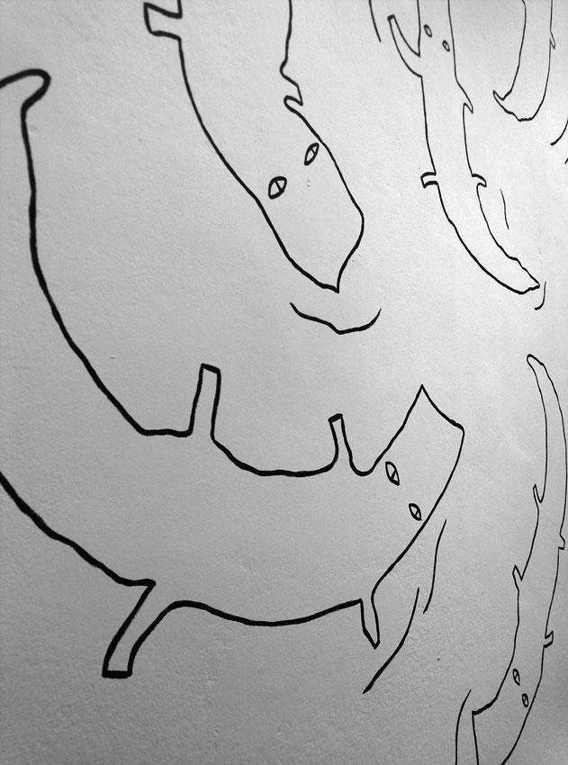 peinture murale crocodiles