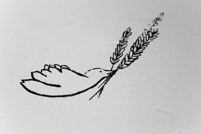 peinture murale épis oiseaux
